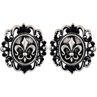 Maayra Elegant Blue Silver Designer College Drop Earrings