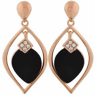 Maayra Sparkling Black Bronze Designer Cocktail Drop Earrings