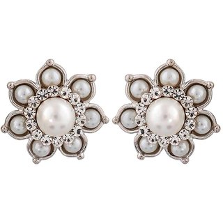 Maayra Graceful White Pearl Party Stud Earrings