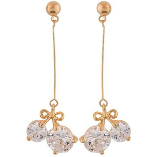Maayra Great Gold Stone Crystals Cocktail Tassel Earrings