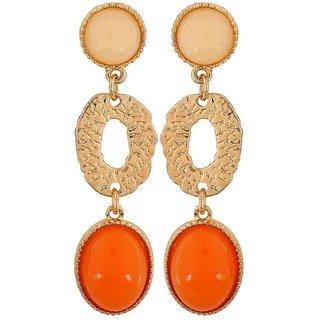 Maayra Lovely Orange Off-White Designer Casualwear Drop Earrings