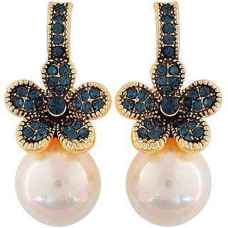 Maayra Exquisite Blue White Pearl Cocktail Drop Earrings