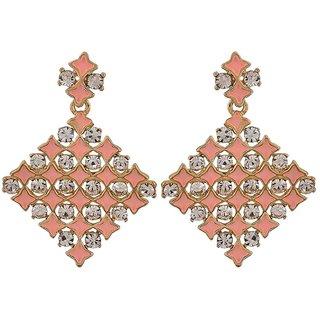 Maayra Posh Pink Stone Crystals Casualwear Drop Earrings