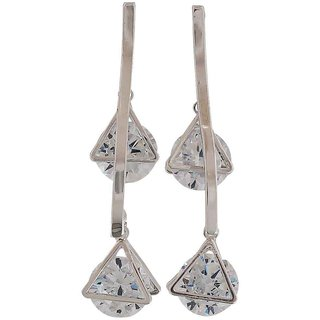 Maayra Classy Silver Stone Crystals Cocktail Drop Earrings