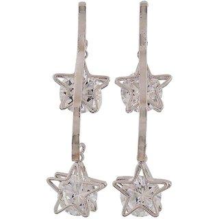 Maayra Dashing Silver Stone Crystals Casualwear Drop Earrings