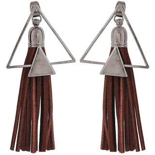 Maayra Sexy Brown Silver Designer Party Drop Earrings