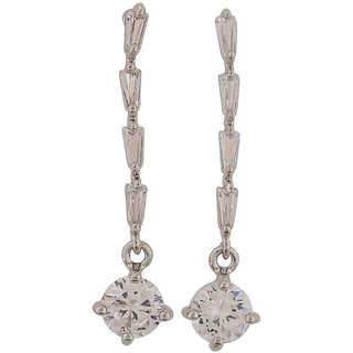 Maayra Superb Silver Stone Crystals Cocktail Drop Earrings
