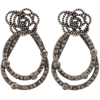 Maayra Charming Silver Stone Crystals Get-Together Drop Earrings