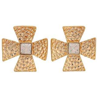 Maayra Posh Gold Stone Crystals Casualwear Drop Earrings