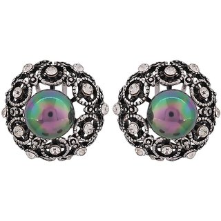 Maayra Suave Green Gold Stone Crystals Get-Together Clip On Earrings