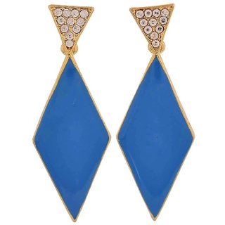 Maayra Sexy Blue Gold Stone Crystals Party Drop Earrings