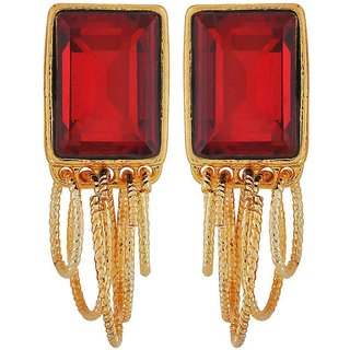 Maayra Awesome Wine Gold Stone Crystals Casualwear Drop Earrings