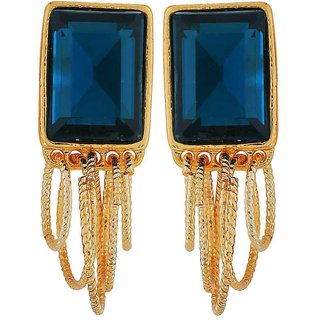 Maayra Cute Blue Gold Stone Crystals College Drop Earrings
