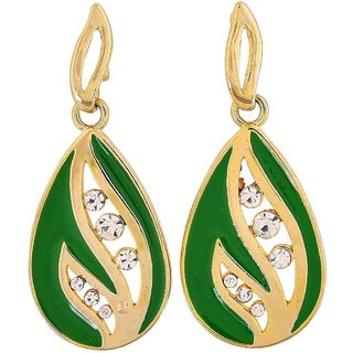 Maayra Adorable Green Gold Stone Crystals Get-Together Drop Earrings