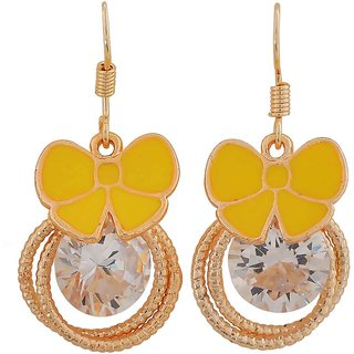 Maayra Modern Yellow Bronze Designer Party Dangler Earrings