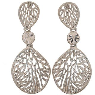 Maayra Awesome Silver Filigree Casualwear Drop Earrings