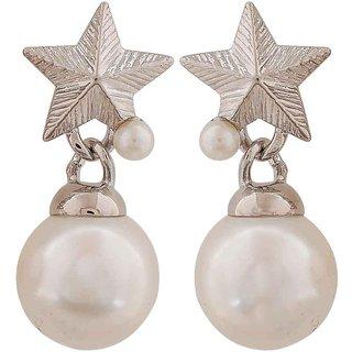 Maayra Lovable White Silver Pearl Casualwear Drop Earrings