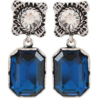 Maayra Sensual Blue Silver Stone Crystals Cocktail Drop Earrings