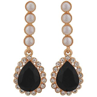 Maayra Plush Black White Indian Ethnic Get-Together Drop Earrings