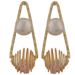Maayra Unique Pink White Pearl Cocktail Drop Earrings