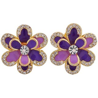 Maayra Terrific Purple Blue Indian Ethnic Get-Together Clip On Earrings