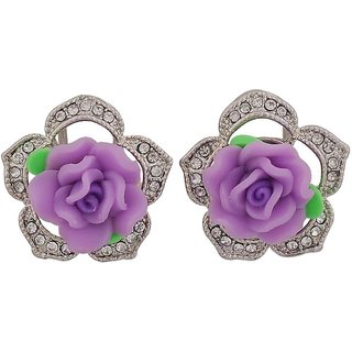 Maayra Fabulous Purple Green Designer College Clip On Earrings