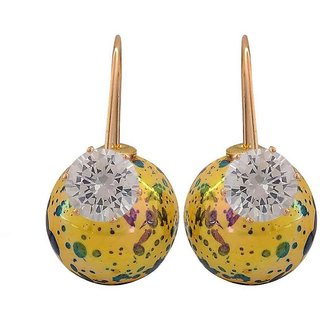 Maayra Smashing Yellow Blue Designer Cocktail Drop Earrings