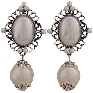 Maayra Sizzling White Silver Pearl Get-Together Drop Earrings