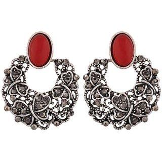 Maayra Cute Orange Designer College Chand Bali Earrings