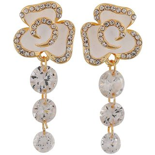 Maayra Darling White Stone Crystals College Drop Earrings