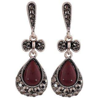 Maayra Gorgeous Maroon Designer Party Drop Earrings