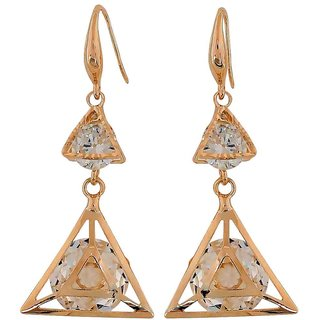 Maayra Classy Gold Stone Crystals Casualwear Dangler Earrings