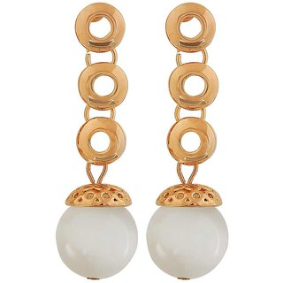 Maayra Unique Gold White Designer Cocktail Drop Earrings