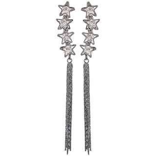 Maayra Pretty Grey Stone Crystals Party Tassel Earrings
