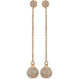 Maayra Elegant Gold Stone Crystals Get-Together Tassel Earrings