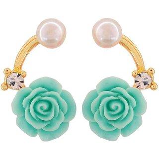 Maayra Graceful Green White Pearl Casualwear Drop Earrings