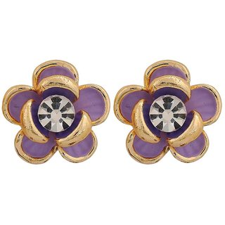 Maayra Artistic Blue Stone Crystals Party Clip On Earrings