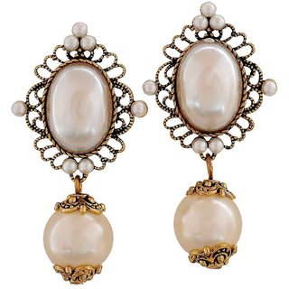 Maayra Exquisite White Gold Pearl College Drop Earrings