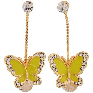 Maayra Dashing Yellow Gold Stone Crystals Cocktail Drop Earrings