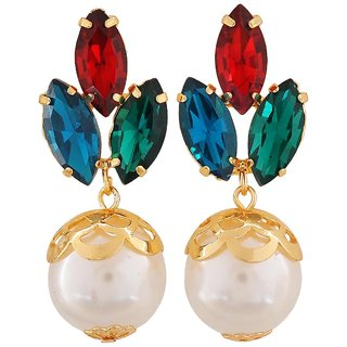 Maayra Hot Multicolour Indian Ethnic Get-Together Drop Earrings