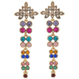 Maayra Stylish Multicolour Stone Crystals Party Drop Earrings