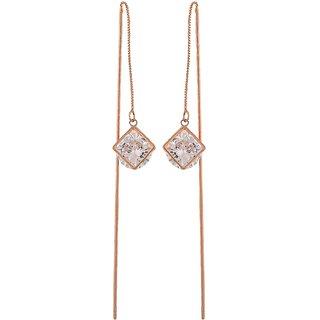 Maayra Graceful Bronze Stone Crystals Casualwear Tassel Earrings