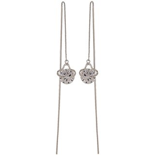 Maayra Great Blue Silver Stone Crystals College Tassel Earrings