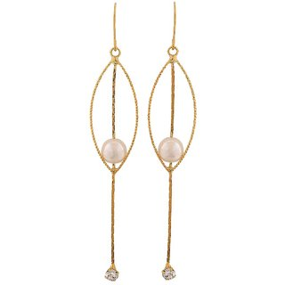 Maayra Beautiful White Gold Pearl Get-Together Dangler Earrings