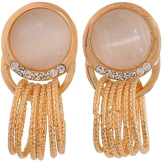 Maayra Cool Off-White Gold Stone Crystals Casualwear Drop Earrings