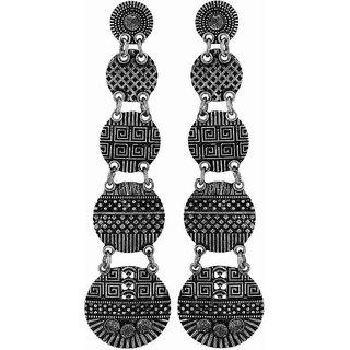 Maayra Amazing Silver Black Designer Party Drop Earrings