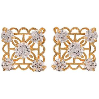 Maayra Sober Gold Stone Crystals College Stud Earrings