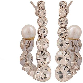 Maayra Simple White Silver Stone Crystals Casualwear Drop Earrings