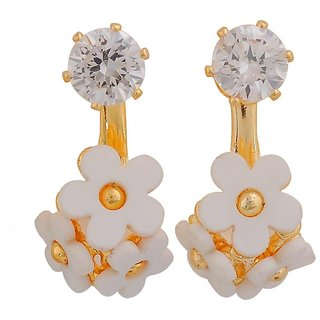 Maayra Plush White Gold Stone Crystals Party Drop Earrings