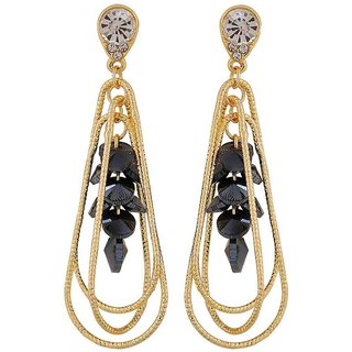 Maayra Class Blue Gold Designer Casualwear Drop Earrings